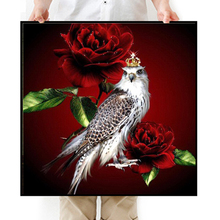 5D DIY Diamond Painting Red Rose Flower & Owl Crown Embroidery Square Diamond Painting Cross Stitch Rhinestone Mosaic Painting