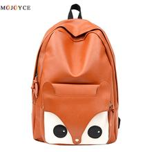 Cartoon Fox Pattern Backpack School Girls Teenagers Mochila Feminina Women PU Leather Back pack