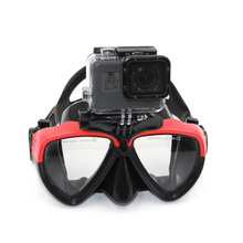 TELESIN Clear Tempered Glass Diving Mask Silicon Scuba Swimming Glasses Snorkel Goggles for GoPro, Xiaomi yi, SJCAM, Eken H9