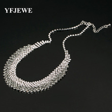 YFJEWE New Luxury Crystal Rhinestone Statement Necklace For Women Wedding Prom Jewelry Fashion Choker Necklace Chain #N132(China)