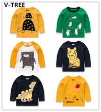 V-TREE Boys Girls Long Sleeve T-Shirts Spring Baby O-Neck Cotton Casual TShirt Children Cartoon Anminal Toddler Teenager TShirt