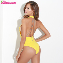 Buy Sexy Chain Strappy Backless Bodysuits Halter Deep V Neck Romper Overalls Body Top 6 Colors Summer Beach Swimsuit Bodysuit Women