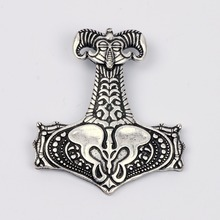 Necro Organic Thor Hammer Amulet Thor's Mjolnir Hammers Necklace Norse Viking Pagan Wiccan Jewelry Christmas Gift Men Women(China)