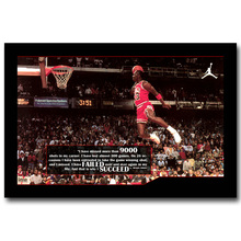 NICOLESHENTING Michael Jordan Dunks Motivational Quote Art Silk Fabric Poster Print Basketball Wall Pictures for Home Decor