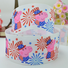 "DUWES 1.5"" 38mm 4TH of July Independence Day red white blue Patriotic Pink pig Printed grosgrain ribbon,hair bow 50YD(China)"