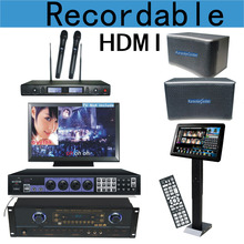HDMI KTV Karaoke On Demand System 3TB HDD+ LED Touch Screen Amplifier Mixer Speaker Wireless Mic All in One(China)