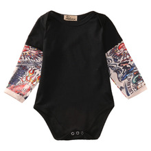 Cool Style Newborn Toddler Kids Baby Boy Bodysuit Clothes Cotton Long Sleeve Tattoos Print Jumpsuit Outfits Black Gray