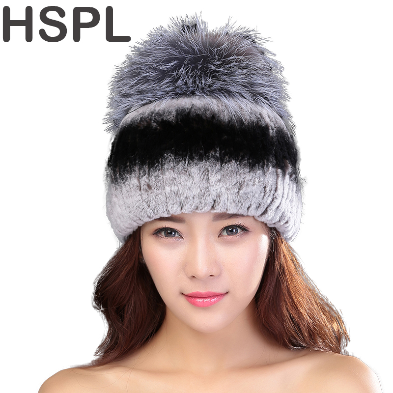 HSPL Winter Caps With Fox Fur Ball Natural Rex Rabbit Fur Winter Hat For Lady Fashion Fur Cap Warm Beanies Lady headwear  BoneÎäåæäà è àêñåññóàðû<br><br>