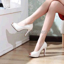 single shoes open toe sandals platform ultra high heels wedding shoes white casual female shoes small yards 31 32 42 43