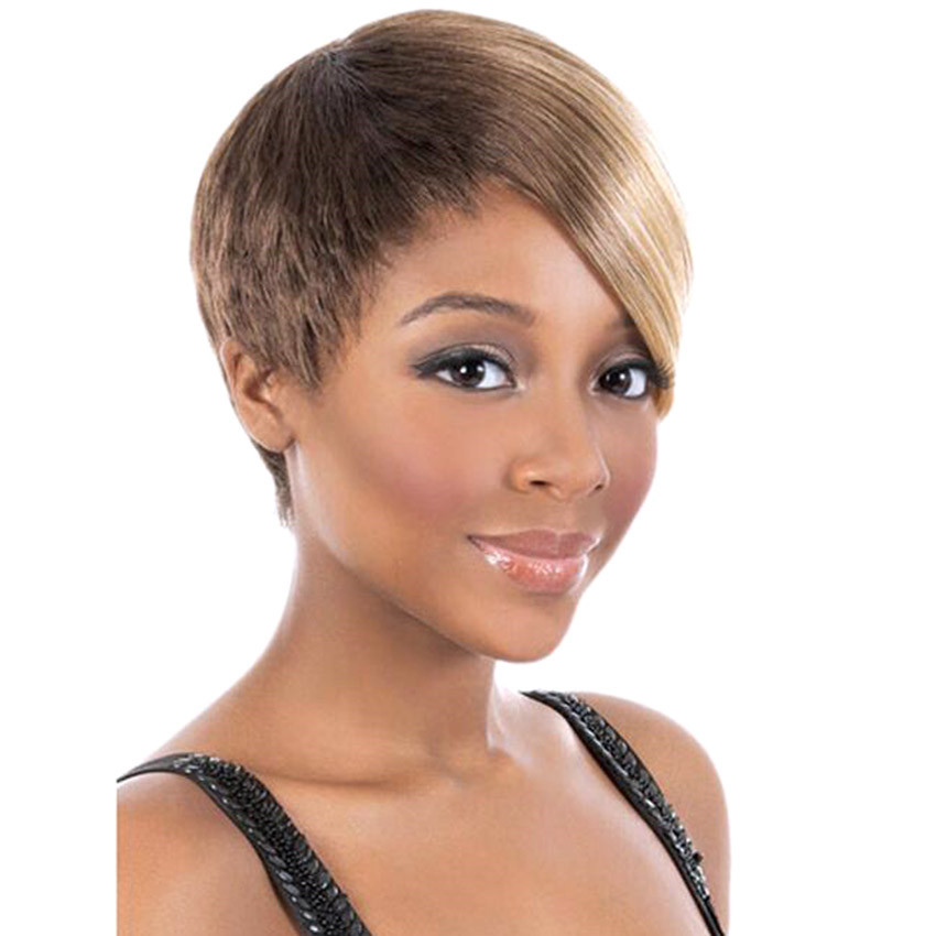 2016 Heat Resistant Synthetic African American Wigs New Brown Blonde Mixed Color Layered Short Cut Wigs<br><br>Aliexpress