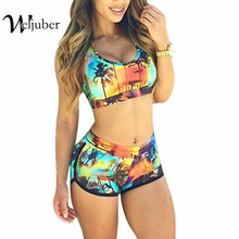 Push Up Swimwear 2016 Sexy Bikinis Set Women Swimsuit Printing Shorts Straight Beachwear Bathing Suit Women Swimming Biquini