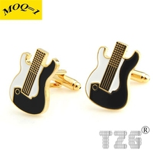 TZG11249 Gold Guitar Cufflink Cuff Link 1 Pair Free Shipping Promotion(China)