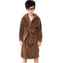 2aa6f9ce4e 3-11Y Bathrobe Kids Solid Color Pajamas with Belt Hoodies Girl Boy Fleece  Sleepwear Flannel Nightwear for Children Robes Pyjamas