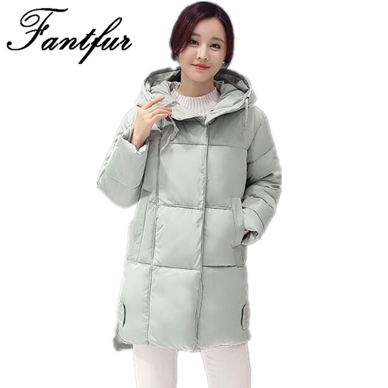 FANTFUR 2017 Winter Thickening Women Parkas Womens Wadded Jacket Outerwear Fashion Cotton-padded Loose Jacket Medium-long CoatÎäåæäà è àêñåññóàðû<br><br>