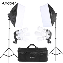 Andoer Photo Studio Lighting Kit with 2 * Softbox / 2 * 4in1 Bulb Socket / 8 * 45W Bulb / 2 * Light Stand / 1 * Carrying Bag(China)