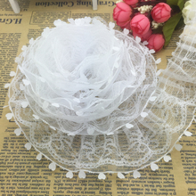 5yds  2-Layer 50mm Wide Organza Lace Gathered Pleated Sequined Trim U Pick Home Handmade Cloth Decoration