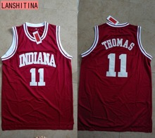 LANSHITINA Cheap Throwback Basketball Jersey Isiah Thomas #11 1981 Indiana Hoosiers College Jersey Retro Vintage Shirts Shirt(China)