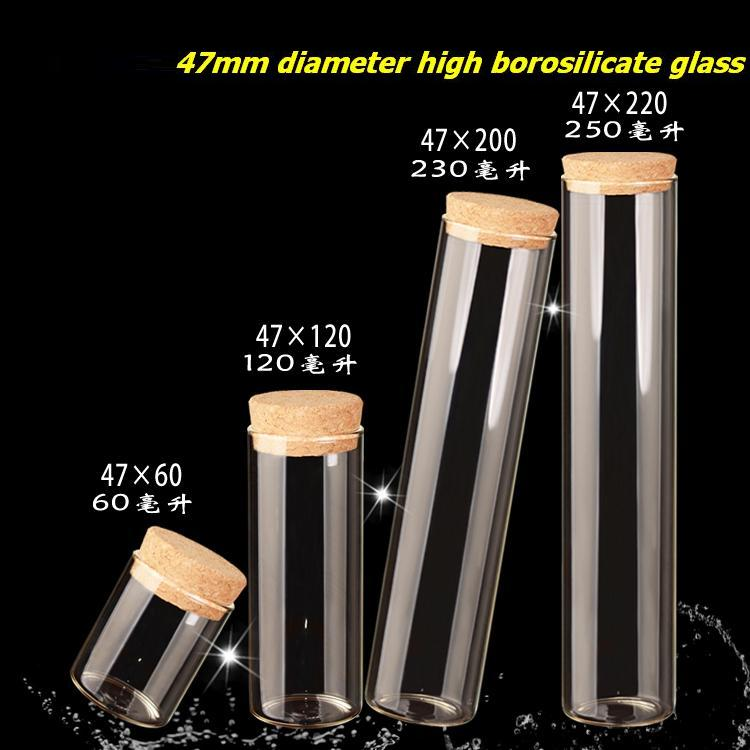 60/120/230/250ml Empty Tube Glass Bottles With Cork Transparent High Borosilicate Glass Bottles Containers Vials Tea Canister<br>