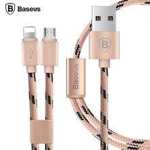 Baseus 2 in 1 Micro USB Cable For iPhone 7 6 6s Plus 5 5s SE Android Phone For Samsung Xiaomi Huawei LG Data Sync Charger Cable(China)