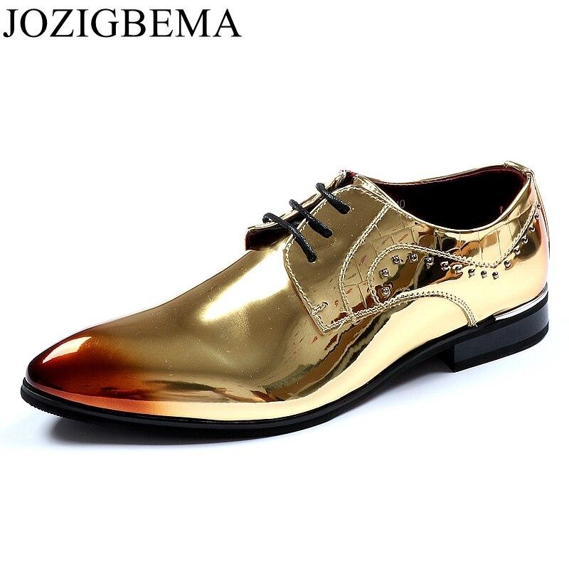 JOZIGBEMA New Classic Men Dress Shoes Man Leather Wedding Shoes Social  Sapato Male Rivets Oxfords Flat 9522b28066b2