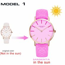 c8f41101f321c Novo Modelo de Relógio Criativo Que Vai Mudar As Cores Sob O Sol Da Moda  Mulheres Relógio de Pulso À Prova D  Água UV Colorido