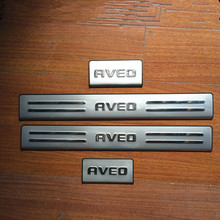 4PCS/SET Stainless Steel Door Sill Scuff Plate for Chevrolet AVEO 2011-2014 Car Styling Accessories(China)
