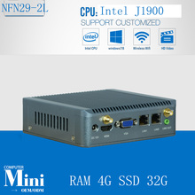 Bay Trail Celeron J1900 nano mini pc fanless dual lan port thin client Win 7/ Ubuntu/ Linux desktop 3G WIFI with RAM 4G SSD 32G(China)