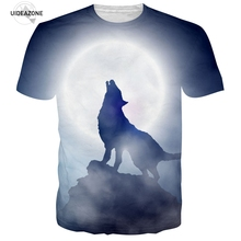 Wolf T Shirt Men 2017 Hip Hop 3D Moon Wolf T-shirts Casual Big Size Clothing Brand Graphic Tshirt Cool Summer Tops Tees Dropship
