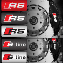 Durable RS Sline S line emblem logo Car PVC Race Trim Sticker Caliper Disc Brake wheel cylinder For A4 A6 A5 A7 A3 Q3 Q5 Q7(China)