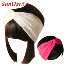 SunWard Newly Design Women Lace Head Band Retro Turban Wrap Headband Twisted Knotted Soft Hair Band Drop Shipping
