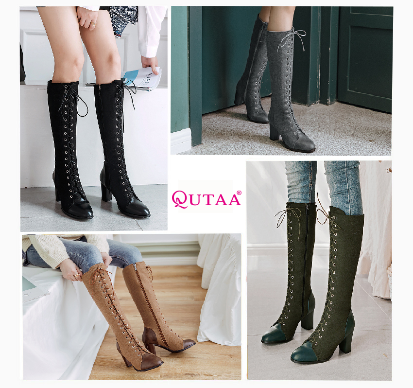 2018 Fashion Lace Up, Women's Knee High Boots, Round Toe Pu Leather, Square Heel Ladies Boots 48
