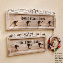 New creative home decor retro carved wooden store wall mounted decorative hooks coat home decoration accessories Chrismas gifts