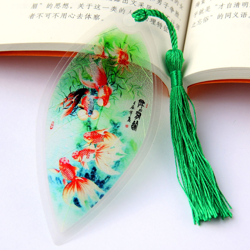 China Painting Fish Pattern Leaves Vein Bookmarks Classical Creative Stationery Small Gifts Green Good Quality Bookmarks PL(China (Mainland))