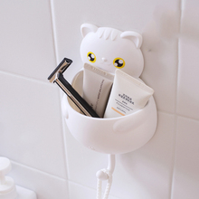 1PC Cartoon Cat Toiletries Toothpaste Holder with Hook Bathroom Sets Paste Tooth Brush Holder Home Accessories C