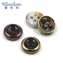 Free shipping 10pcs/lot11mm high-grade UV plating resin buttons for man woman shirt,suit, clothing black white polish botonesZ65