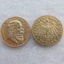 1906 German States BADEN 10 Mark Gold Plated copy Coin High Quality(China)