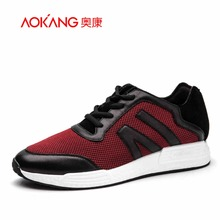 AOKANG 2016 autumn New Men's leather mesh mixed shoes Lace-Up Casual Shoes For Men Comfort walking shoes red white male shoes