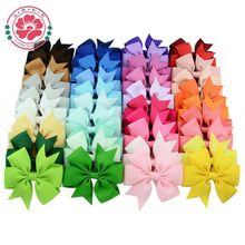 40pcs 40 Colors Grosgrain Ribbon Bows WITH Clip Girls' Boutique PinWheel Hair Clip Kids Hair Accessories 564