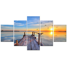 Sunset Painting on Canvas Seascape and Pier Canvas Wall Art Modern Natural Landscape Artwork Picture for Home wall Decor 5 Pcs(China)