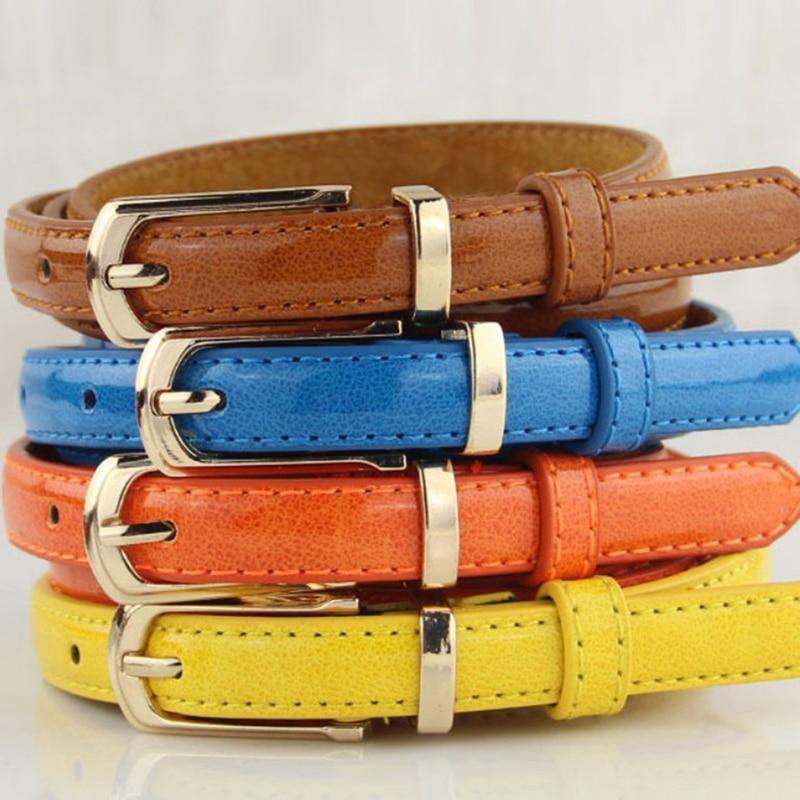 Women Candy Color Thin PU Leather Belt Exquisite Dress Waist Belt Ladies Solid Color Fashion Wild Belts 6 Colors