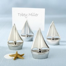 "(DHL,UPS,Fedex)FREE SHIPPING+80pcs/Lot+""Shining Sails"" Silver Sailing Ship Design Place Card Holders Beach Themed Wedding Favors"