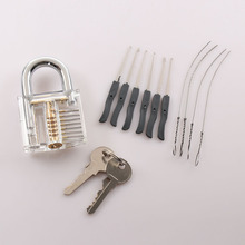 Transparent Visible Pick Cutaway Practice Padlock Lock With Broken Key Removing Hooks Lock Kit Extractor Set Locksmith Tool(China)