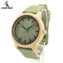 BOBO BIRD B06 Men's Quartz Watch With Silicone Strap Green Wooden Bamboo Casual Japanese Movement Watch With Gift Box