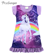 Tryounger Girls Dress Summer Unicorn Dresses Girls Baby Pajamas Costume Princess Cartoon Vestidos Infantis Girl Clothes(China)