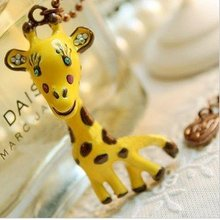 12pcs/lot Free shipping wholesale Fashion yellow giraffe Necklace Pendant Animal Jewelry
