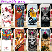 Hard Plastic Phone Cases For Nokia 230 2.8inch Phone Back Cover Hood Cool Skull Cute Minions Flower Accessories