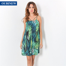 OUBINEW 2017 summer dress Small pure fresh natural plant printing backless free loose Condole belt D2253Z - HuazeyiGe Store store
