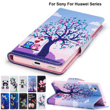 Ass Lotus PU Leather + TPU Silicone Case For Huawei Honor 6X 6C Cover For Sony Xperia XA1 G3116 XZ XZS G8232 F8332 B116(China)