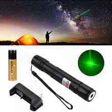 Powerful Lazer Pen Light 650nm 1mw Laser Pointer Adjustable Focus Green/Red Laser Flashlight with 18650 Battery and Charger