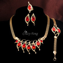 Luxury Gold Color Austrian Crystal Pendants Necklace/Earrings/Ring/Bracelet CZ Jewelry For Women Wedding Costume Jewellery Sets